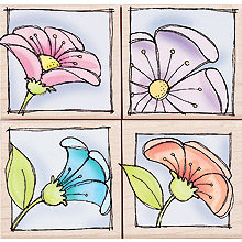 Hero Arts - Woodblock - Wood Mounted Stamps - Peeking Posies - Set of Four