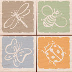 Hero Arts - Woodblock - Wood Mounted Stamps - Little Background Bugs - Set of Four