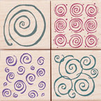 Hero Arts - Woodblock - Wood Mounted Stamps - Swirl Patterns - Set of Four