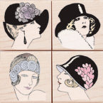 Hero Arts - Woodblock - Wood Mounted Stamps - Fancy Hats - Set of Four