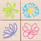 Hero Arts - Woodblock - Wood Mounted Stamps - Posy Petals - Set of Four