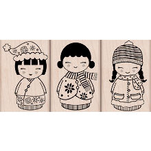 Hero Arts - Woodblock - Christmas - Wood Mounted Stamps - Three Christmas Dolls