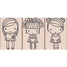 Hero Arts - Woodblock - Wood Mounted Stamps - 3 Girls