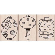 Hero Arts - Woodblock - Wood Mounted Stamps - 3 Paper Lanterns