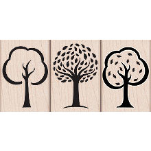 Hero Arts - Woodblock - Wood Mounted Stamps - 3 Artistic Trees