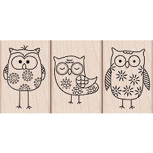 Hero Arts - Woodblock - Wood Mounted Stamps - Owl Trio