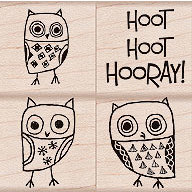 Hero Arts - Woodblock - Wood Mounted Stamps - Hoot Hoot Hooray