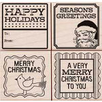 Hero Arts - Woodblock - Christmas - Wood Mounted Stamps - Four Holiday Tags