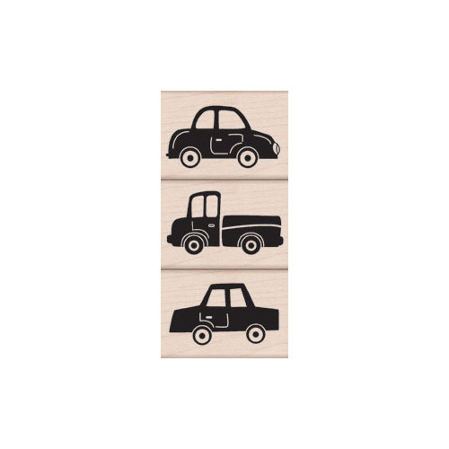 Hero Arts - Woodblock - Wood Mounted Stamps - Three Fun Cars