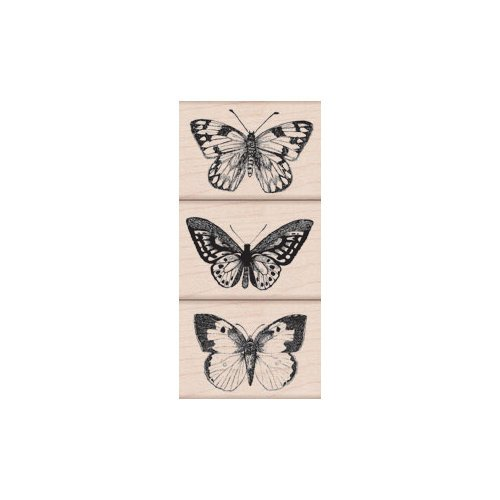 Hero Arts - Woodblock - Wood Mounted Stamps - Three Artistic Butterflies
