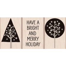 Hero Arts - Woodblock - Christmas - Wood Mounted Stamps - Merry Holiday - Set of Three