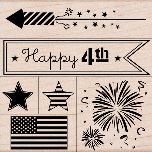 Hero Arts - Woodblock - Wood Mounted Stamps - Happy 4th