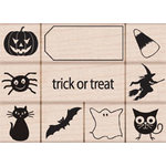 Hero Arts - Woodblock - Halloween - Wood Mounted Stamps - Trick or Treat Stamp Set