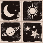 Hero Arts - Woodblock - Wood Mounted Stamps - Moon and Stars