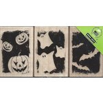 Hero Arts - Woodblock - Halloween - Wood Mounted Stamps - Pumpkins, Bats and Ghosts