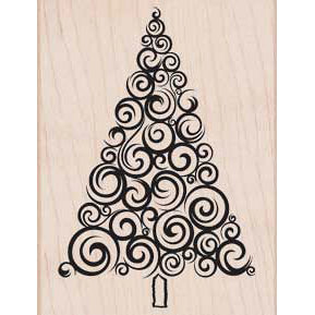 Hero Arts - Woodblock - Christmas - Wood Mounted Stamps - Large Swirl Tree