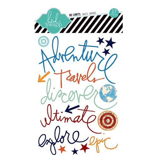 Heidi Swapp - No Limits Collection - Epoxy Stickers - Buzz Words