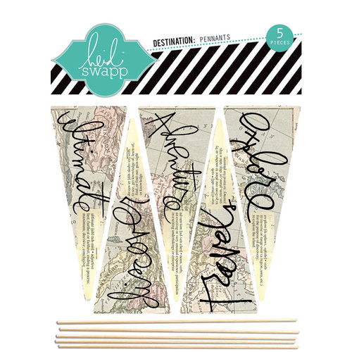 Heidi Swapp - No Limits Collection - Wood Sticks - Pennants - Destination