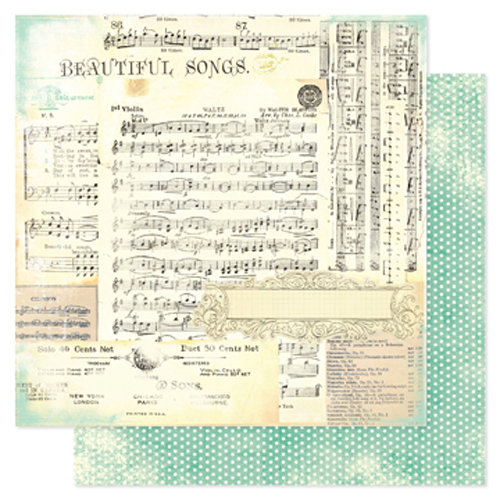 Heidi Swapp - Vintage Chic Collection - 12 x 12 Double Sided Paper - Beautiful Songs