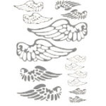 Heidi Swapp - Metallic Rub-Ons - Wings - Silver, CLEARANCE