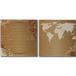 Heidi Swapp - World Traveler Collection - 12x12 Double Sided Paper - Continents