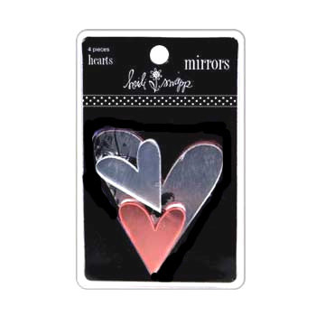 Heidi Swapp - Mirrors - Hearts - Clear and Pink