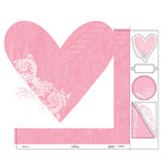 Heidi Swapp - Love Notes Collection - 12 x 15 Double Sided Paper with Die Cuts - Heart Throb, CLEARANCE