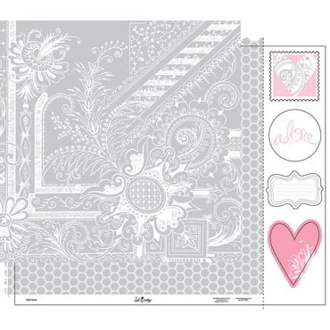Heidi Swapp - Love Notes Collection - 12 x 15 Double Sided Paper with Die Cuts - Lost Love, CLEARANCE