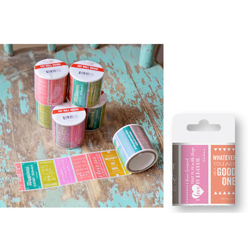 Hazel and Ruby - Fat Roll Washi Tape - Colorblock Quotes