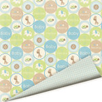 Imaginisce - Baby Powder Collection - 12x12 Double Sided Flocked Paper - Bouncing Baby Boy