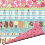 Imaginisce - Summer Cool Collection - 12 x 12 Double Sided Gloss Embossed Paper - Flipsicle Twist, CLEARANCE
