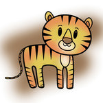 Imaginisce - Wild Things Collection - Snag 'em Acrylic Stamps - Tiger