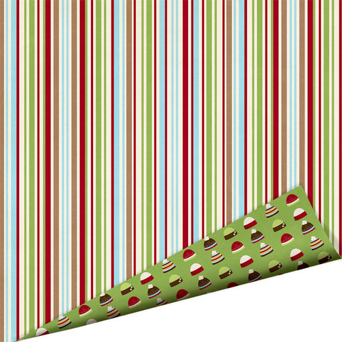Imaginisce - Polar Expressions Christmas Collection - 12 x 12 Double Sided Paper - Pine and Peppermint