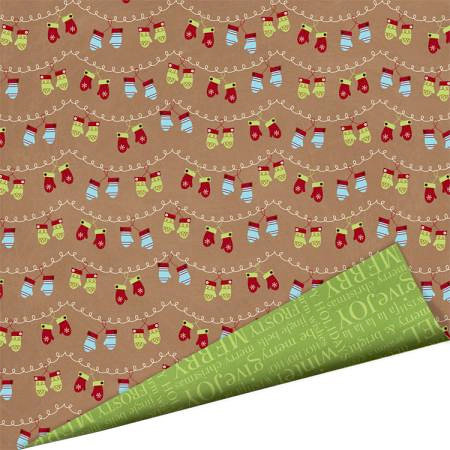 Imaginisce - Polar Expressions Christmas Collection - 12 x 12 Double Sided Paper - Warm Woolen Mittens