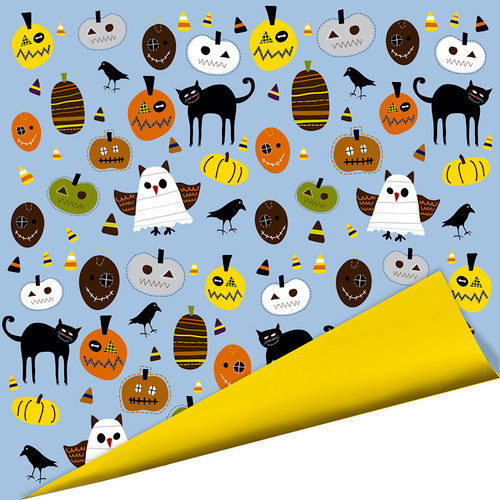 Imaginisce - Spooky Town Halloween Collection - 12 x 12 Double Sided Paper - Boo Whooo, CLEARANCE