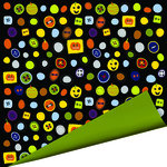 Imaginisce - Spooky Town Halloween Collection - 12 x 12 Double Sided Paper - Boo Buttons , CLEARANCE