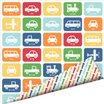 Imaginisce - Let's Roll Collection - 12 x 12 Double Sided Gloss Embossed Paper - Let's Go , BRAND NEW