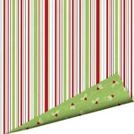 Imaginisce - Cottage Christmas Collection - 12 x 12 Double Sided Paper with Glossy Accents - Peppermint Stick