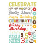Imaginisce - Birthday Bash Collection - Rub Ons - Party Time Words, CLEARANCE