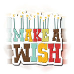 Imaginisce - Birthday Bash Collection - 3 Dimensional Springing Stickers with Glossy Accents - Make A Wish