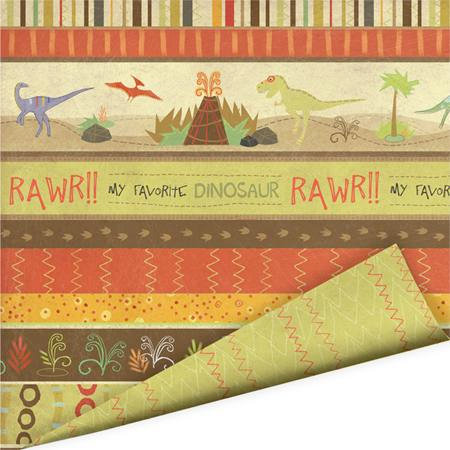 Imaginisce - Dinosaur Roar Collection - 12 x 12 Double Sided Paper with Varnish Accents - Bedrock, CLEARANCE