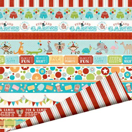 Imaginisce - Animal Crackers Collection - 12 x 12 Double Sided Paper with Glossy Accents - Under the Big Top, BRAND NEW