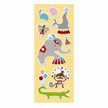 Imaginisce - Animal Crackers Collection - Canvas Stickers - Animal Parade