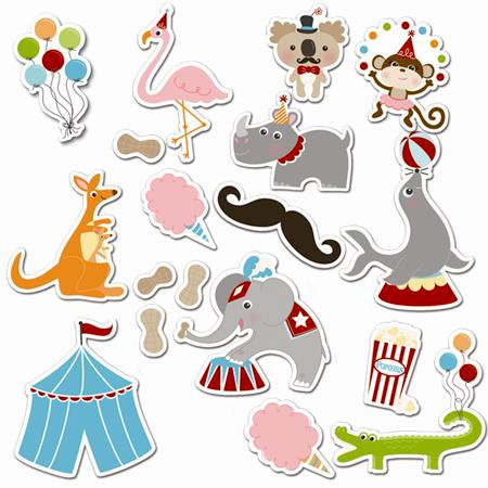 Imaginisce - Animal Crackers Collection - Die Cut Cardstock Pieces with Glossy Accents - Animal Tricks