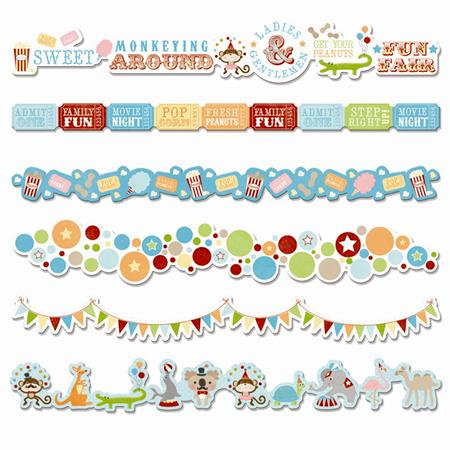 Imaginisce - Animal Crackers Collection - Adhesive Border Strips with Glossy Accents - All Aboard!, BRAND NEW