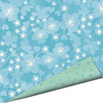 Imaginisce - Garden Party Collection - 12 x 12 Double Sided Paper with Glossy Accents - Blossoms of Blue