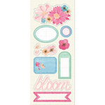 Imaginisce - Garden Party Collection - Chipboard Stickers with Glossy Accents - May Flowers