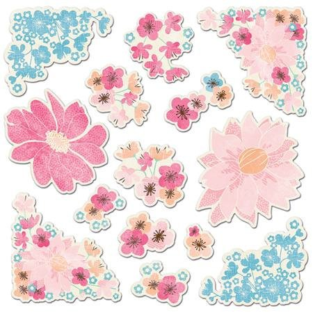 Imaginisce - Garden Party Collection - Die Cut Cardstock Pieces with Glossy Accents - Blossom Tags