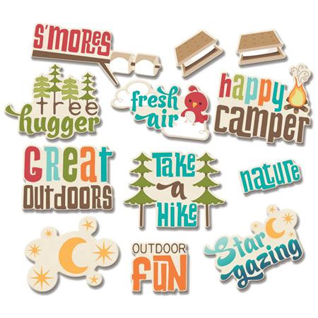 Imaginisce - Happy Camper Collection - Die Cut Cardstock Pieces with Glossy Accents - Great Outdoors Word