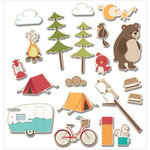Imaginisce - Happy Camper Collection - Die Cut Cardstock Pieces with Glossy Accents - Camp Critter Icon